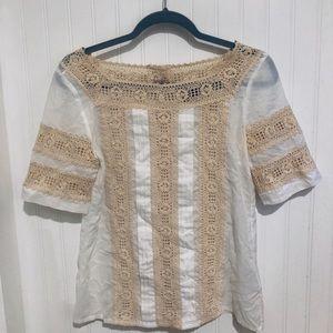 Tory Burch cream lace linen button back Top 2